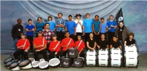 MARCHING TO THE BEAT of success, the Sam Brannan Middle School Drum Line is winning regional competitions – with only two years of competition under its belt. / Photo courtesy, Sam Brannan Middle School Drum Line