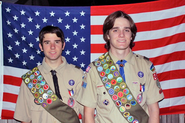 Joseph Barrett and Mark Matney were honored at an Eagle Court of Honor ceremony at Elks Lodge No. 6 for their work and commitment to achieve Boy Scouting's highest rank, Eagle Scout. / Courtesy of Bill Kirk, Scoutmaster Troop 259