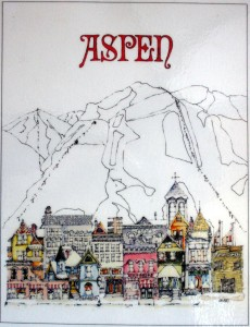 Jim Ford was the artist for this well-known Aspen, Colo. ski town scene, which he drew and colored in 1972. Photo by Lance Armstrong