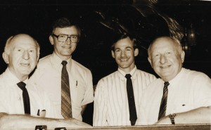 Left to right, Harry Borowski, David Boroski, Fred Borowski and Ray Boroski are shown at the Palomino Room in this 1980s photograph. Photo courtesy of Boroski/Borowoski family