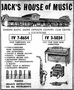This 1961 Jack's House of Music advertisement summarizes the offerings of the business's Arden area and Carmichael stores at that time. Photo courtesy of the Lance Armstrong Collection