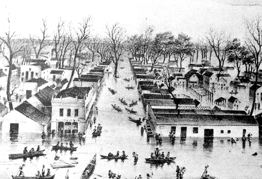 "The flood of 1849-50 resulted in efforts that led to Sacramento City's notoriety as the ""Levee City."" Photo courtesy"