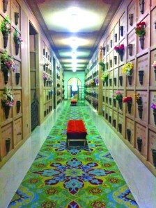 The mausoleum's east corridor is shown in this modern photograph. Photo courtesy of East Lawn Memorial Park