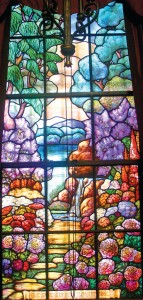 "At the lower part of the Clunie window, which was made by the Pearson Art Glass Co. in Portland, Ore., are the words: ""The spring of hope flows eternal."" Photo by Lance Armstrong"