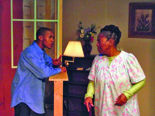 "Photo courtesy Celebration Arts //  From left: Mericus Adams (Sound) and Patricia Coleman (Eunice Katem) in Celebration Arts' current production, ""A Life."""