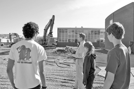 Students check out the beginning of the building of the new performing arts center. Photo courtesy Christian Brothers High School.