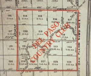 A historic tract map shows the original boundaries of Del Paso Country Club. Marconi Avenue is highlighted at the lower portion of this image. Photo by Lance Armstrong