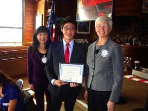 President Keiko Wong, speech contest winner Daniel Li, and Treasurer Judy Foote at this year's club level speech contest held on March 7, 2013. Photo courtesy Rotary Club of Pocket/Greenhaven.