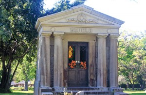 The Scheld family mausoleum is located on the Folsom Boulevard side of the cemetery. Photo by Lance Armstrong