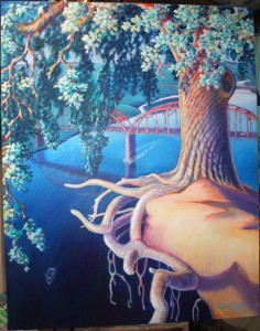 One of Hugh Gorman's many paintings is of a tree with exposed roots on the bluffs above the Fair Oaks Bridge. Photo by Lance Armstrong