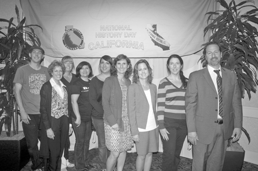 The NHD-CA team dedicated many hours to assuring the successful operation of this year's state competition. They are, from left to right: Josh Barton, Vivian Goldschmidt, Rhonda Cameron, Imelda Cavazos, Melissa Alvarado, Julie Hull, Christine Olmstead, Julie Escala and Rob Vicario. Photo by Lance Armstrong