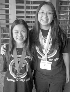 San Francisco students, Christie Lum (left) and Elizabeth Leong, were among the more successful participants in the state competition. Photo by Lance Armstrong
