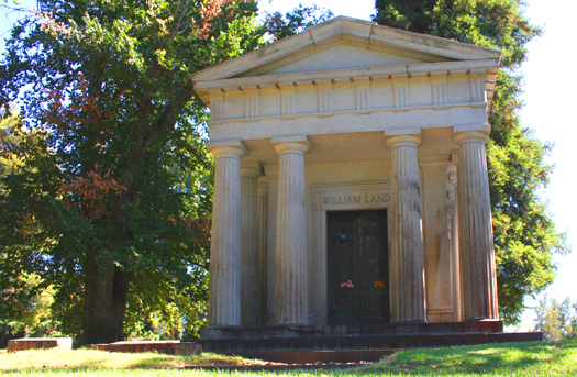 The final resting place of early Sacramento hotel and land owner, William Land, sits on the highest level of East Lawn Memorial Park. Photo by Lan