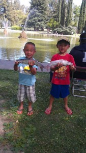 Seen are children enjoying the fishing derby at last year's Juneteenth celebration.