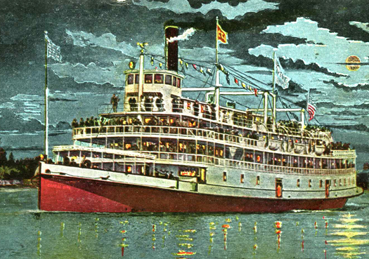 The four-deck steamer Capital City was mostly built in 1910, two years prior to the construction of the nearly identical steamer Fort Sutter. Photo courtesy of the Lance Armstrong Collection