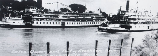The steamers Delta Queen and Port of Stockton participated in a much anticipated race along the Sacramento River on June 26, 1938. Photo courtesy of San Francisco Maritime National Historical Park