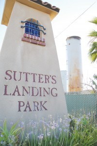 Sutter's Landing sign welcomes visitors to the beautiful park