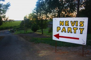 A sign directs guests to the Nevis family reunion. Photo by Lance Armstrong