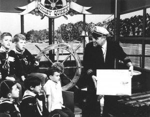 "Mitch Arguss and a group of Cub Scouts are shown on the set of Arguss's television show, ""Cap'n Delta, Skipper of the Valley Queen."" Photo courtesy of Mitch Arguss"
