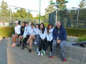 From left to right: Elyse Ching, Liz Fung, Shannon Lee,Anstonia Ma, Tracy Fang, Katrina Jiang, Aloni Onodera, and Coach Teweles(For Metro League Conference Doubles Championships)