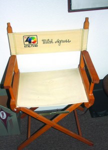 This chair was a gift to Mitch Agruss from his longtime employer, television station, KXTL Channel 40. Photo by Lance Armstrong