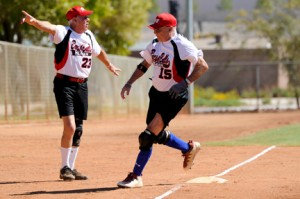 Members of the Bucs & Bulls, a softball team from Florida, are shown during a game in Las Vegas last October. Photo courtesy of SSUSA