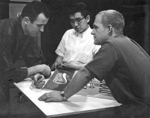 KCRA-TV art director Bob Miller, right; Don Chandler, assistant art director; and Bob Matsumoto, student trainee, work on a project for a then-upcoming Crystal Cream and Butter Co. commercial, in the 1960s. Photo courtesy of Bob Miller