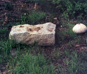 The base of a tombstone sits on the old pioneer cemetery grounds during the 1980s. Photo courtesy of SCCO