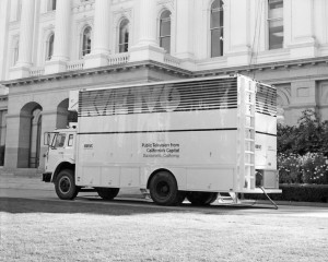 A KVIE Channel 6 truck visits the Capitol grounds in 1976. Photo courtesy of KVIE