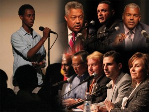 Shown here, and on the cover of this issue of the Pocket News, are photos from the political forum for City Council candidates, District 7 and California, Assembly, District 9 held at John F. Kennedy High School on Monday, April 28. Photos by Stephen Crowley