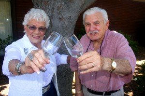 Tony and Anne Muljat give a toast to their 65 years of marriage. Photo by Lance Armstrong