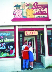 Ken and Ruth Noblett are shown in front of the first of their two Squeeze Inn locations in Stockton, Mo. This establishment's first Stockton structure was lost in a tornado in April 2002. Photo courtesy of Ruth Noblett