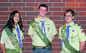 The Troop 259 Eagle Scout Court of Honor ceremony was held at the Elks Lodge No. 6 last month. Shown here are three Eagle Scouts, from left to right: Billy T. Hernandez, Joseph Krieg and Robert Shirley. Photo courtesy