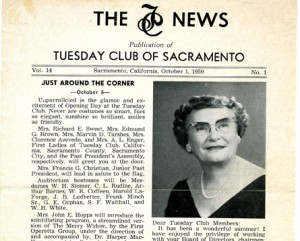 In order to provide better communication with its members, the club began publishing its own newsletter, The TC News, in November 1946. Shown above is the Oct. 1, 1959 edition, which includes a photograph of Irene Sweet, who was then serving as the club's president. Photo courtesy of the Lance Armstrong Collection