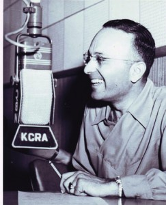 KCRA announcer Steve George is shown in this 1940s photograph. Photo courtesy of Sacramento Public Library, Sacramento Room