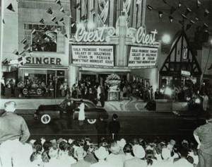 Sacramento Bee photo of The Crest Theatre's original opening night, October 6, 1949.  This image courtesy of Dolores Greenslate/Portuguese Historical Society Collection.