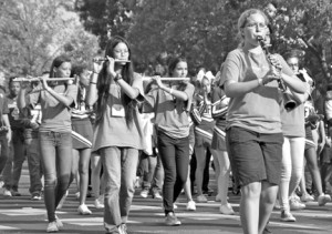Shown here are students from the John F. Kennedy marching band taken during the homecoming parade, which was held on Friday, Oct. 17. The sounds of the band practicing in the evenings often provide neighbors with free concert music. Photo by Monica Stark