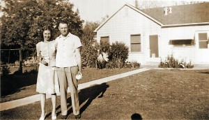 "Ray and Dorothy Bertolucci are shown in front of their 37th Street guest house in this c. 1949 photograph. Ray was unofficially known as the ""Mayor of 37th Street."" / Photo courtesy of Lois Lindstrom"