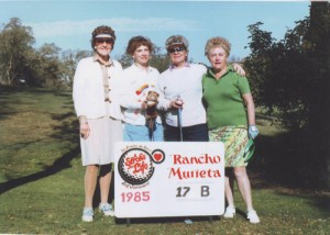 Left to right, Mary C. Caplis, Nancy Jo Plescia, Helen Smernes and Theresa Just participated as a team in a golf tournament at Rancho Murieta in 1985. Caplis enjoyed golfing with friends from the early 1960s until 2000. Photo by Lance Armstrong