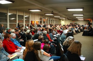 A large turnout of concerned neighbors gathered at the Sierra 2 Community Center to listen developer Paul Petrovich's proposal for a Safeway gas station. / Photos by Greg Brown