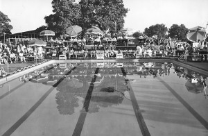 Many Olympic swimmers were trained in competitive swimming at the Arden Hills Swimming and Tennis Club. The photograph above shows one of the many swimming meets that was held at the club. / Photo courtesy of Arden Hills