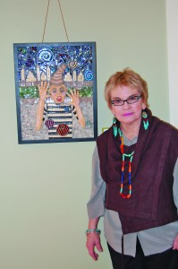 "Shown here is a ""Self Portrait"" of artist Maggie Jimenez who is showing work now at the Ella K. McClatchy Library."