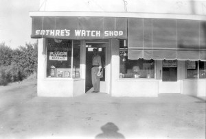 Sathre's Watch Shop, which was later renamed Sathre Jewelers, is shown in this c. 1950 photograph. / Photo courtesy of the Sathre family