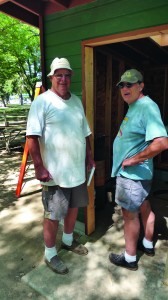 Forrest and John pose for the paparazzi in front of the new Land Park Ranch shed.