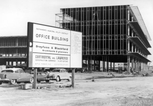 This vintage photograph shows the SMUD headquarters building in its incomplete state. The structure was added to the National Register of Historic Places on Jan. 4, 2010. / Photo courtesy of SMUD