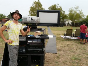 Kevin, the projector guy, at the Hollywood Park movie night.