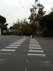 The crosswalk scheduled for removal on Freeport Boulevard