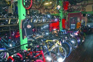 Bicycles fill the store from floor to ceiling. / Photo by Lance Armstrong