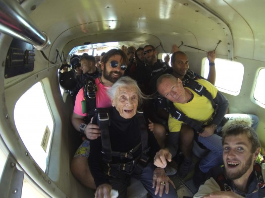Photos by James Donaldson /  Jeanne Johnson has lived an adventurous life. Here she is celebrating her 95th birthday... by skydiving!!