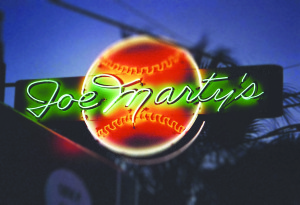 Photo by Dave Van Hulsteyn Shown here is the historic Joe Marty's sign that shines bright today in all its neon glory for the bar that will reopen in December.